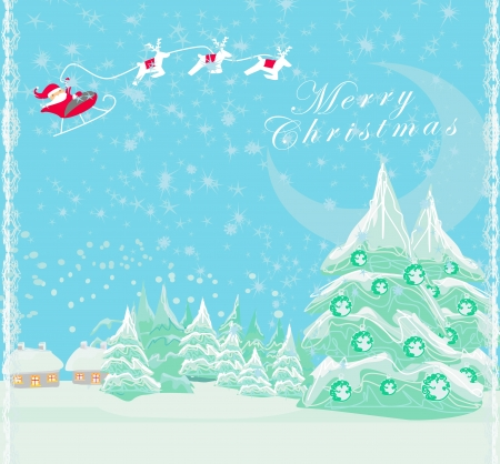 Happy New year card with Santa and winter landscape Stock Vector - 16245065