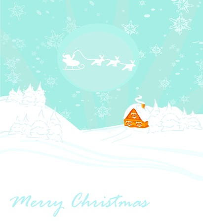 Happy New year card with Santa and winter landscape  Stock Vector - 16245047