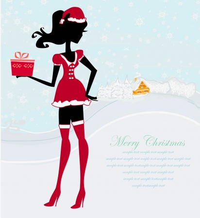 Happy New year card with Santa girl and winter landscape  Vector