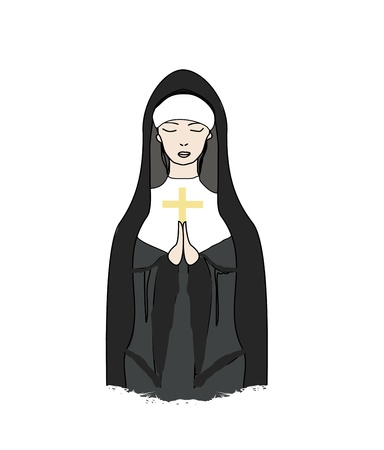 black nun:  Vector illustration of nun