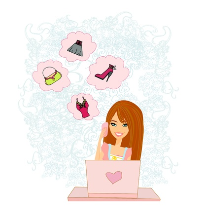 women purchasing product online using her laptop computer  Stock Vector - 16234716