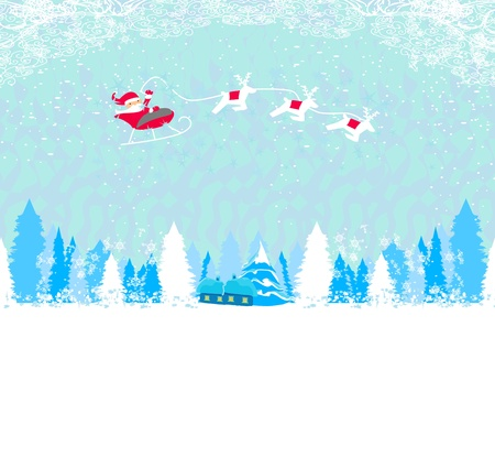 Happy New year card with Santa and winter landscape Stock Vector - 16245114