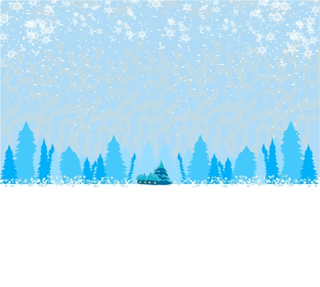 snow sled:  winter landscape - vector