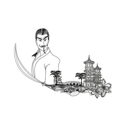 Samurai  in Asian Landscape - doodle vector illustration Vector