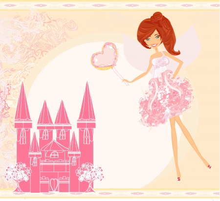 fairy flying above castle Stock Vector - 16234616