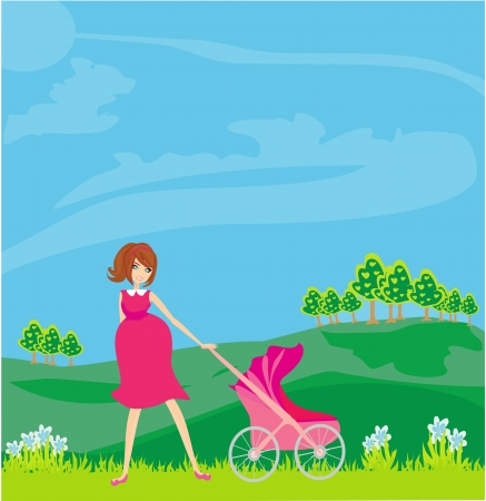 beautiful pregnant woman pushing a stroller  Stock Vector - 16245128