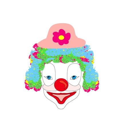 golden hair: Vector illustration of smiling cartoon clown