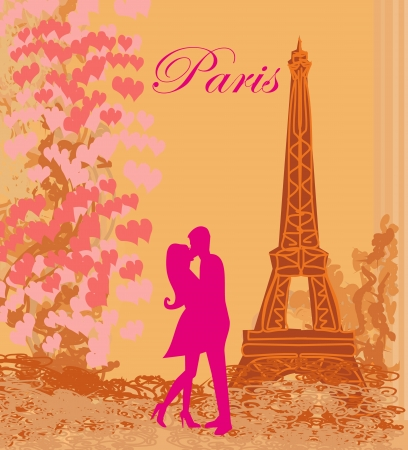 french kiss:  Romantic couple in Paris kissing near the Eiffel Tower