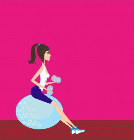 fitness ball: Mujer que trabaja con pesas en bola de la aptitud Vectores