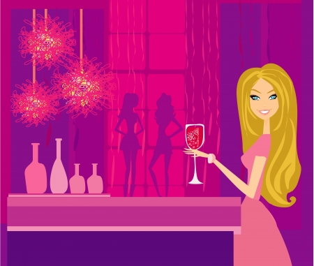 Beautiful disco girl with drink  Vector