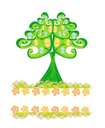 Easter tree frame Stock Vector - 16449434
