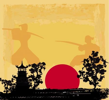pagoda: papel viejo con la silueta del samurai Vectores