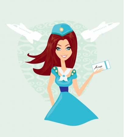 Beautiful stewardess with ticket Stock Vector - 16449431