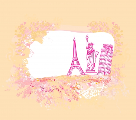 travel design element with different monuments  Vector