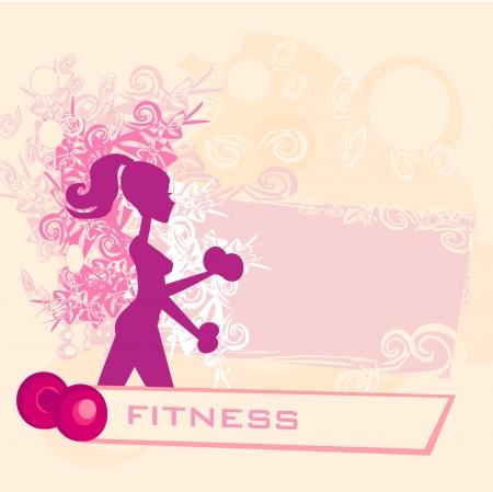 mujer ejercitandose: encajar mujer el ejercicio con dos pesas con mancuernas en las manos su cartel