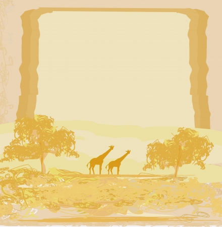 grunge background with African fauna and flora Stock Vector - 16449482
