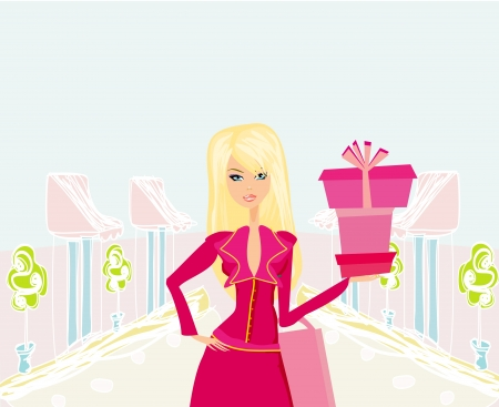 shoptalk:  fashion shopping girl with shopping bags and gift box