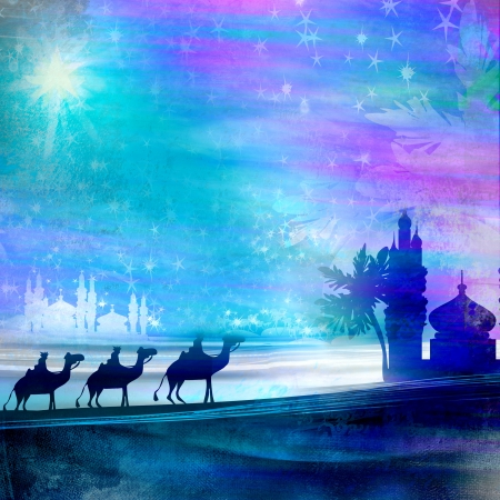 three animals:  Classic three magic scene and shining star of Bethlehem  Stock Photo