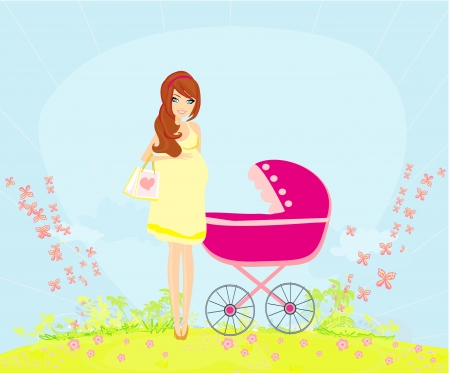 beautiful pregnant woman pushing a stroller  Vector