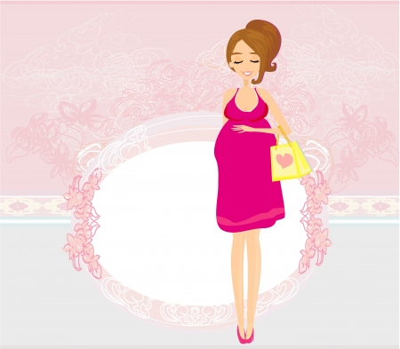 awaiting:  Beautiful pregnant woman on shopping for her new baby Vector  Illustration