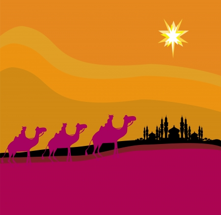 three animals:  Classic three magic scene and shining star of Bethlehem, vector illustration