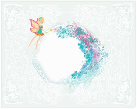 floral background with a beautiful fairy  Ilustrace