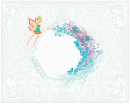femme papillon: fond floral avec une belle f�e