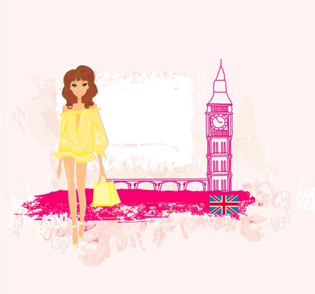 Beautiful woman in London  Vector