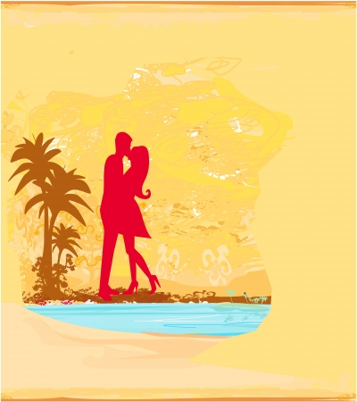 silhouette couple kissing on tropical beach  Stock Vector - 16479780