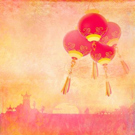 Asian Landscape and Chinese Lanterns Stock Photo - 16554477