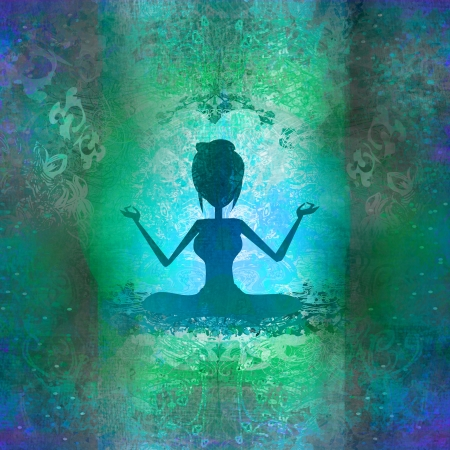 Yoga girl in lotus position - abstract background photo