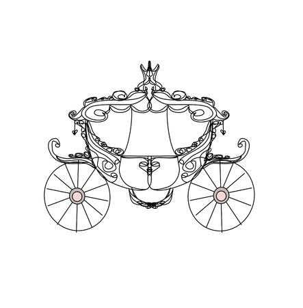 carriage: annata trasporto - icona scarabocchio Vettoriali