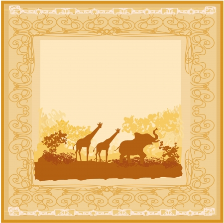 grunge background with African fauna and flora Stock Vector - 16569861