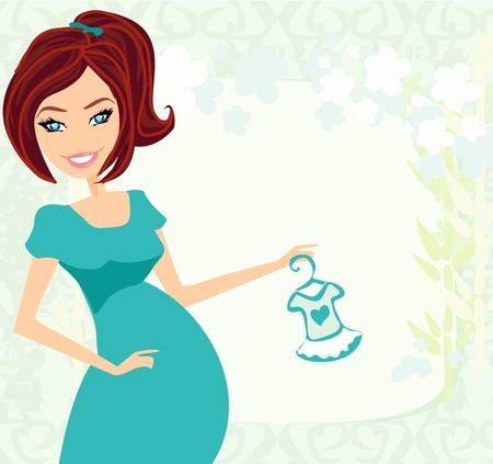 awaiting:  Beautiful pregnant woman on shopping for her new baby  Illustration