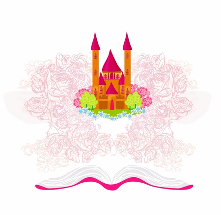 Magic world of tales, fairy castle appearing from the book  Stock Vector - 16580740