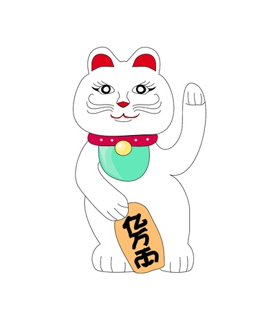 maneki neko: Traditional Chinese Cat of Luck  Some believe it attracts good fortune   Illustration