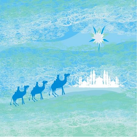 desert scenes:  Classic three magic scene and shining star of Bethlehem,  illustration
