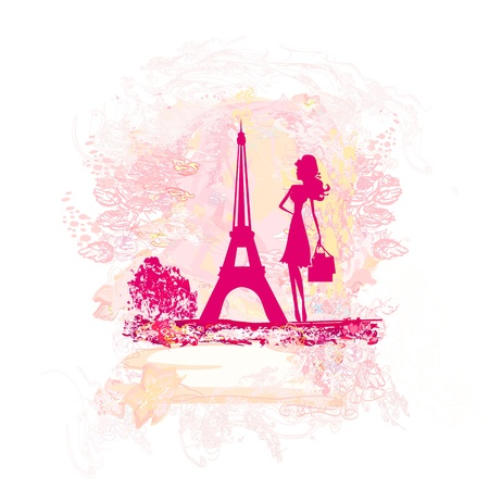 beautiful women Shopping in Paris -  card