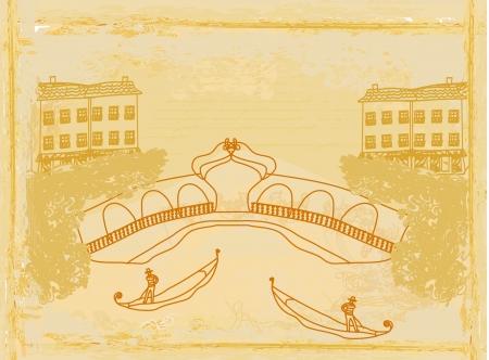 Venetian gondola. retro style card.  illustration. Stock Vector - 16601115