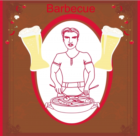 man cooking on his barbecue. vector invitation Stock Vector - 16674289