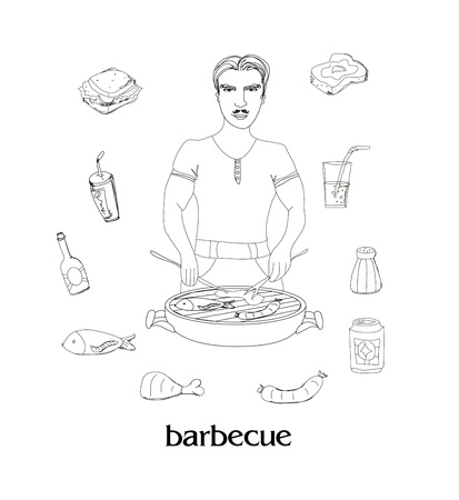 Barbecue icon vector set  Vector