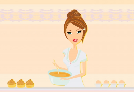 beautiful Housewife cooking  Stock Vector - 16674286