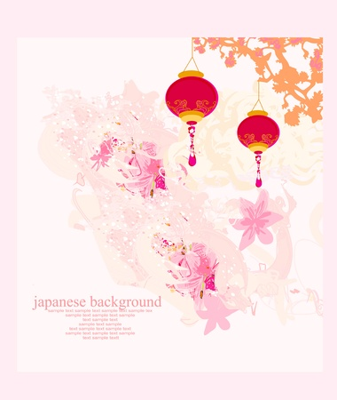 spring in japan:  Chinese New Year card  Illustration