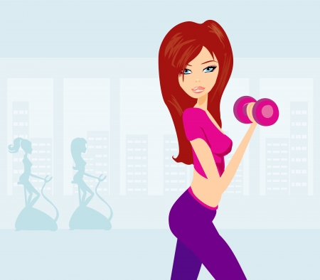 exercise cartoon: women exercising in gym