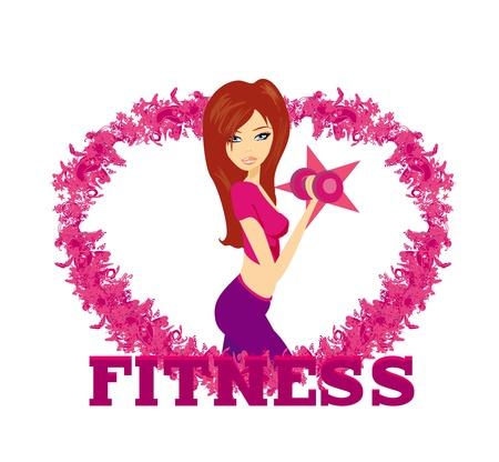 mujer ejercitandose: encajar mujer el ejercicio con dos pesas con mancuernas en las manos