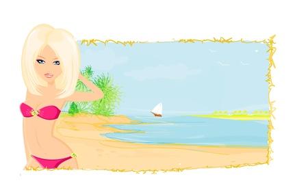 voluptuous:  Summer beach girl  Illustration