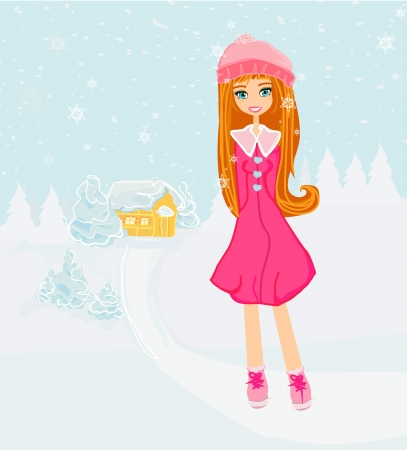 beautiful winter girl  Stock Vector - 16674337