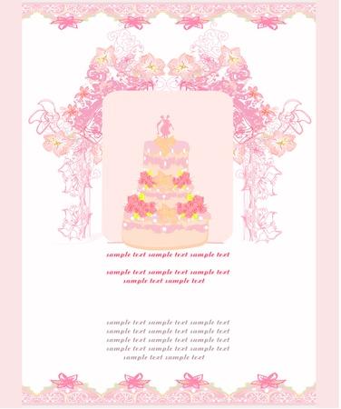 wedding cake card design Stock Vector - 16708125