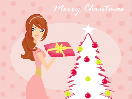 cute girl with gift box near by Christmas Tree Stock Vector - 16708119