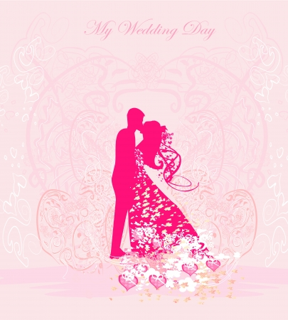 Floral greeting card with silhouette of romantic couple  Stock Vector - 16708126